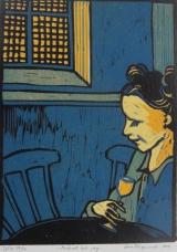 <h5>Midnatt och jag</h5><p>Linoleumsnitt från 2013 - Utvald till Grafiktriennal XV på Uppsala Konstmuseum. En av de 315 verk som valts ut av totalt 1756 inlämnade.</p>